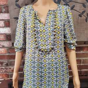 ANGIE 3/4 Sleeve Blouse w/Metal Detailing Size M